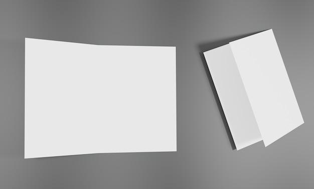모형 및 프리젠 테이션 디자인을위한 빈 흰색 시트