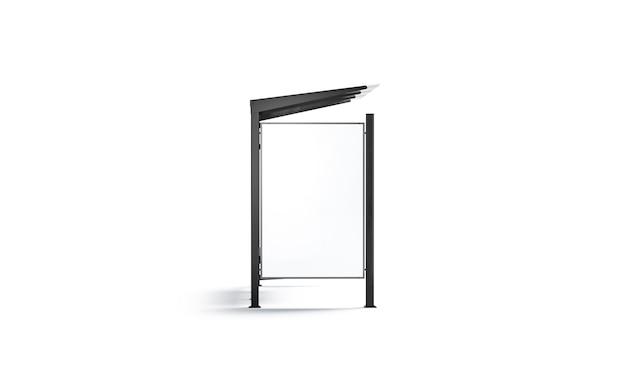 バス停の空白の白い看板は、パイロンのモックアップで孤立した空のコーチステーションをモックアップします