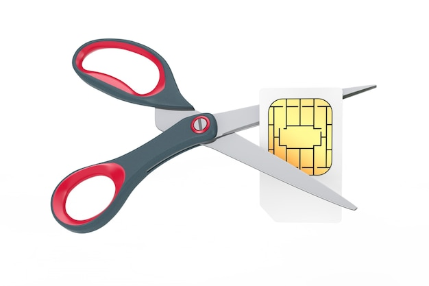 Blank white sim card cut with scissors on a white background. 3d rendering