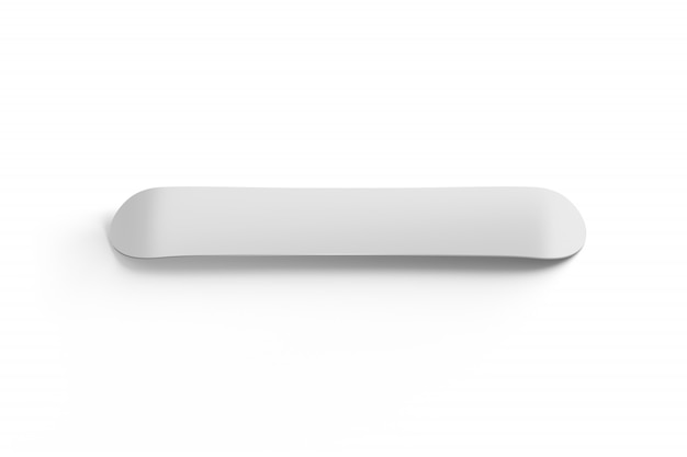 Blank white snowboard   isolated back side view