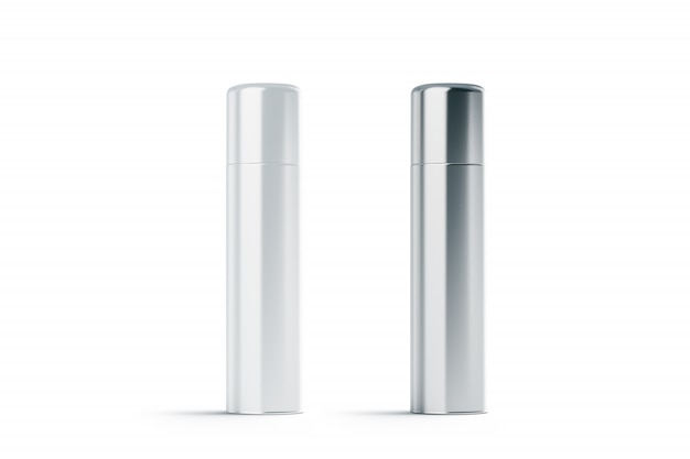 Blank white and steel closed hairspray bottles mock up
