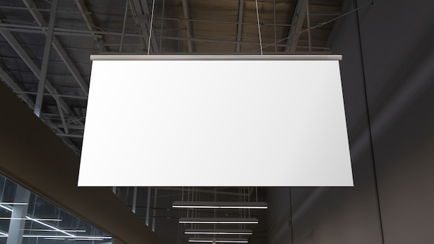 Blank white supermarket banners hanging from ceiling. hangers mockup ready for branding or advertising