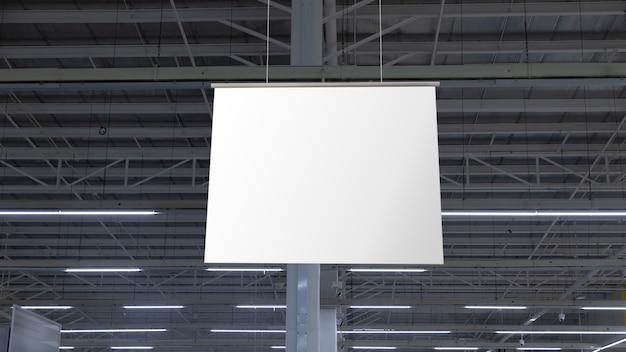 천장에 매달려 빈 흰색 슈퍼마켓 배너입니다. 브랜딩 또는 광고용 옷걸이 모형 준비