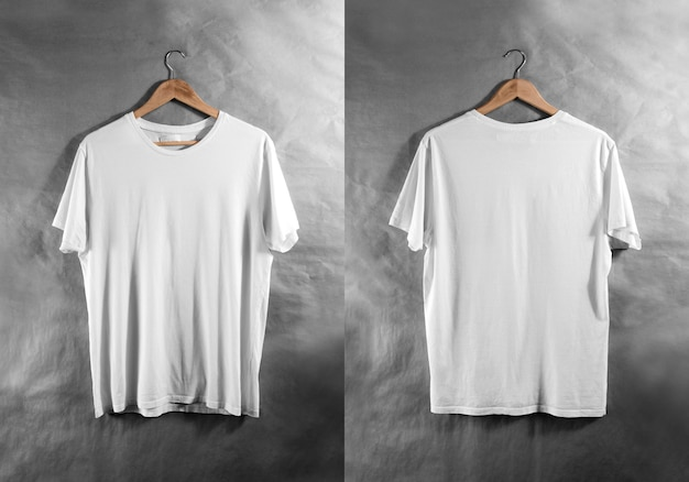 Blank white t-shirt front back side view hanger,