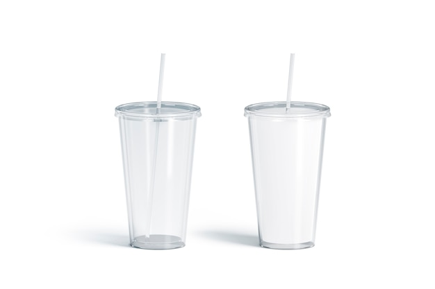 Blank white and transparent acrylic tumbler with straw mockup translucent and matt flask mock up