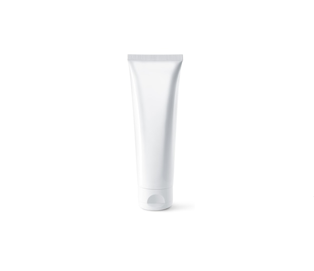 Blank white tube design  set, isolated, clipping path. clear cream packaging stand and lies . lotion skin care empty package bottle  container. scincare cosmetic gel tube flacon.