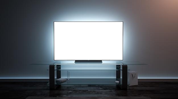 暗闇の中で空白の白いテレビ画面のインテリア