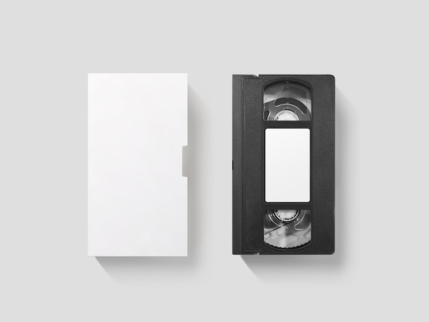 Blank white video cassette tape mockup