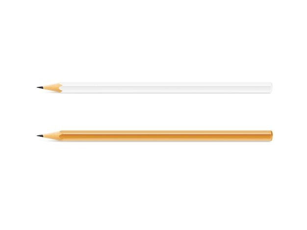 Blank white and yellow pencil  isolated
