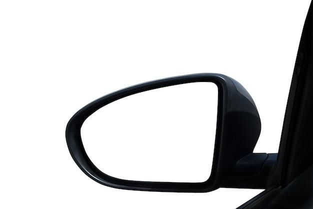 あなたのテキストのための車の空白のドアミラー。白い背景で隔離