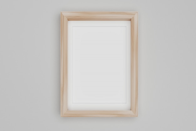 Blank wood picture frame on the wall