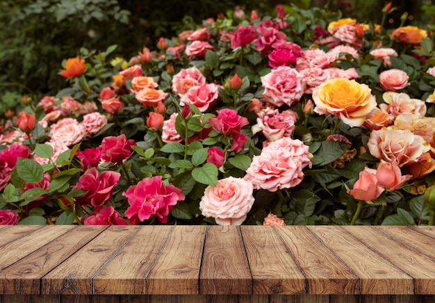 Blank of wood top table at roses garden