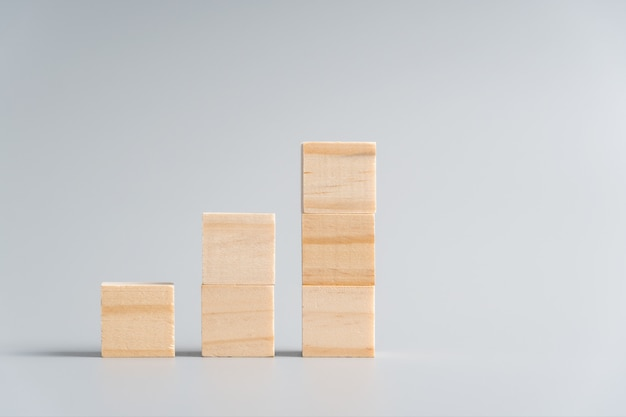 Blank wooden cubes in stair shape or graph