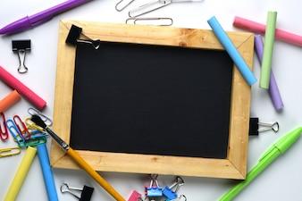 Blank Wooden Frame Blackboard Between School Stationary