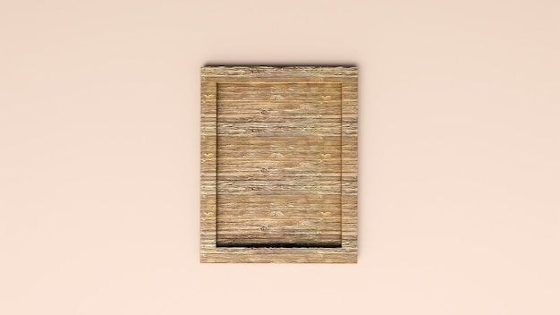 Blank wooden frame on light brown background