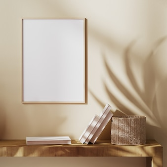 太陽光線とヤシの葉の影、自由奔放に生きるスタイル、バリスタイル、3dレンダリングでベージュの壁にモックアップ空白の木製フレーム