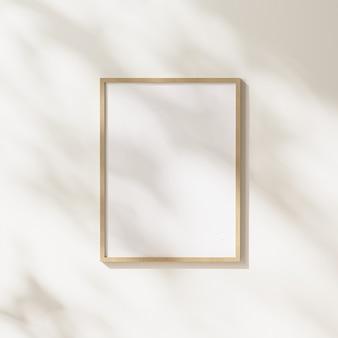 흰색 벽 배경에 나뭇잎 그림자와 햇빛이 있는 빈 나무 프레임, 3d 렌더링