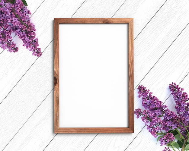 Blank wooden frame with flowers. 3d rendering.