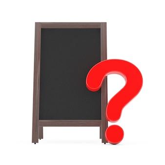 空白の木製メニュー黒板屋外ディスプレイ、白い背景に赤い疑問符。 3dレンダリング