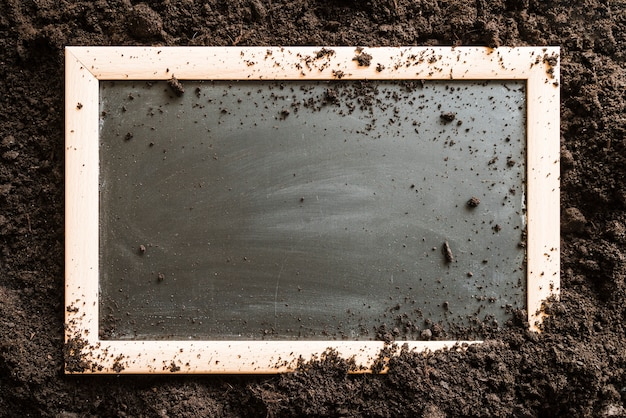Blank wooden slate over the soil