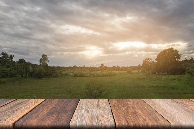 Blank wooden table on front with grass field and cloud background