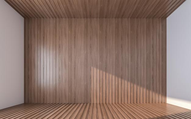 나무 바닥과 천장에 빈 나무 벽입니다. 3d 렌더링