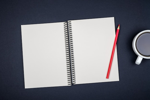 Blank writing pad for ideas on colored background