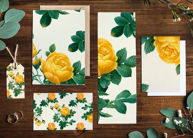 Пустые желтые розы дизайн канцелярские макеты