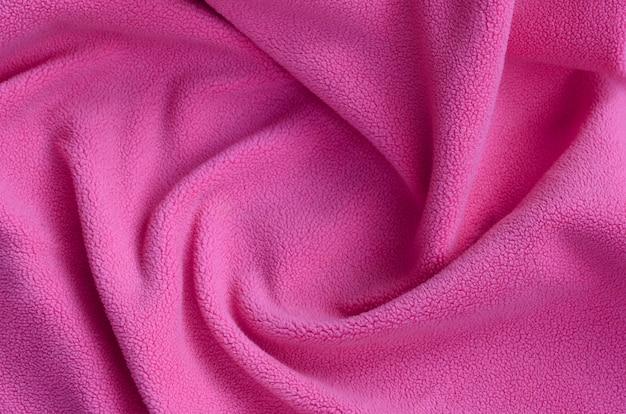 The blanket of furry pink fleece fabric