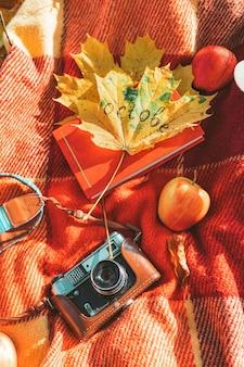 Одеяло с книгой и старой ретро камерой на земле в общественном парке осени. копировать пространство