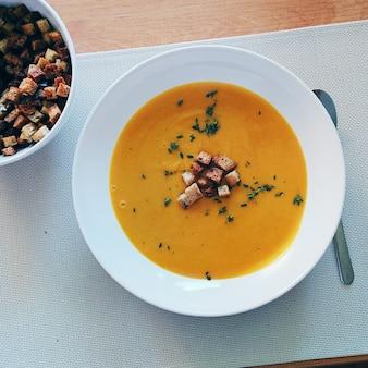 Blended hokkaido pumpkin soup