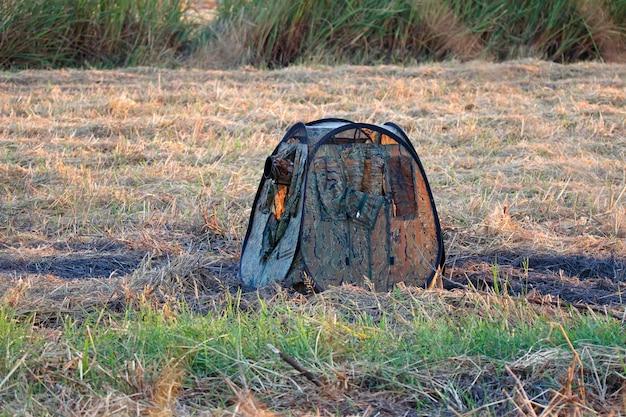 Blind hide bird watching at sunset