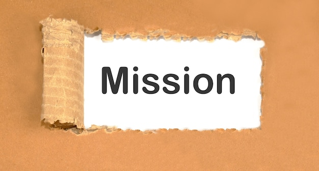 A bloated paper with the word mission on it.