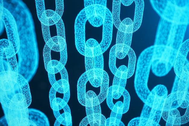 Концепция цепочки блоков, технология цепочки цифровых блоков. криптовалюта, концепция цифрового кода. иллюстрация