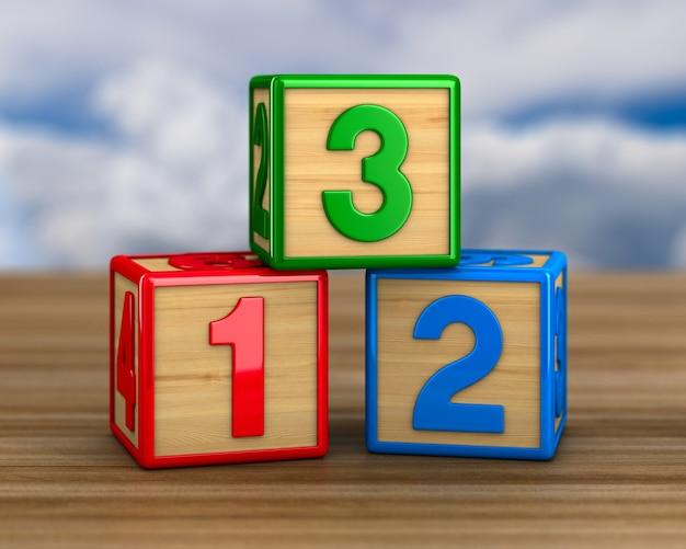 Блок с номером на деревянной поверхности. 3d иллюстрации
