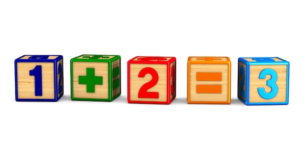 Block with number on white space. isolated 3d illustration
