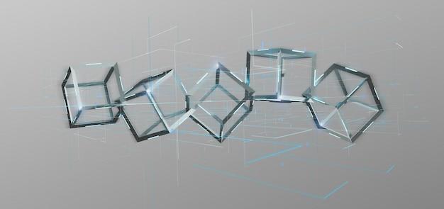 Blockchain cube isolated on