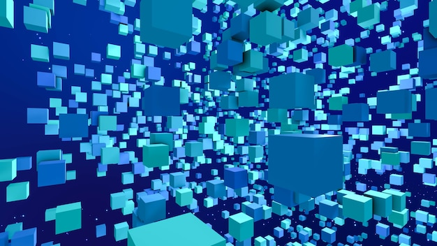 Blockchain internet connect nodes of big data, blocks of data scattering in blue cyberspace background, 3d rendering abstract digital decentralized network technology concept