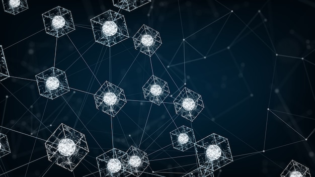 Blockchain network concept.isometric digital blocks square code big data connection.