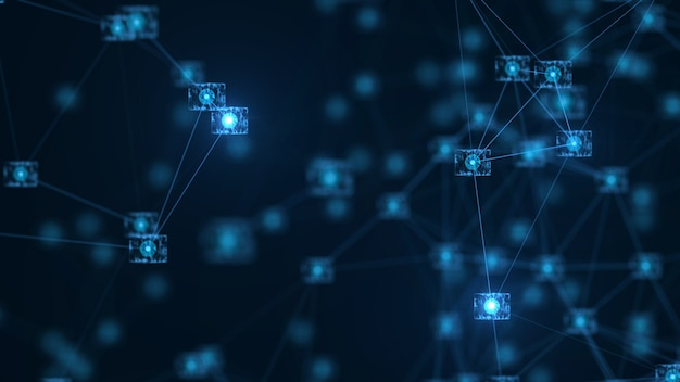 Blockchain network concept.