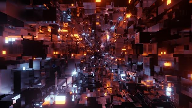 공상 과학 및 기술 혁신 장면의 벽지에 대한 blockchain 공간 기술 배경