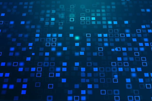 Фон технологии блокчейн в градиентном синем