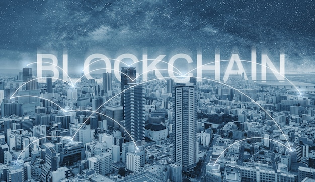 Blockchain technology, cityscape and connections link