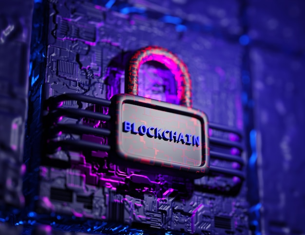 Blockchain technology concept. 3d render