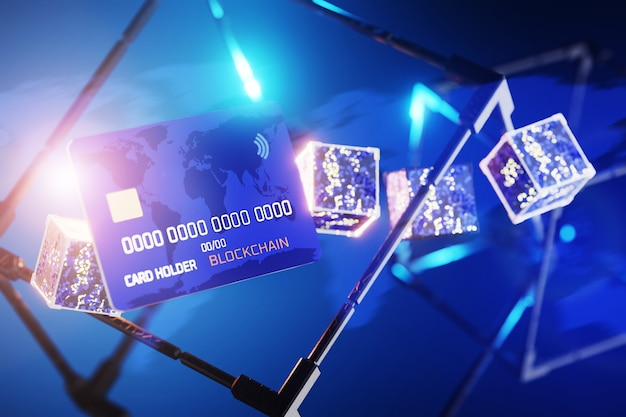 Blockchain technology concept. abstract cubes with an electrical circuit. transactions on the blockchain network. cryptocurrency payment concept. 3d render.