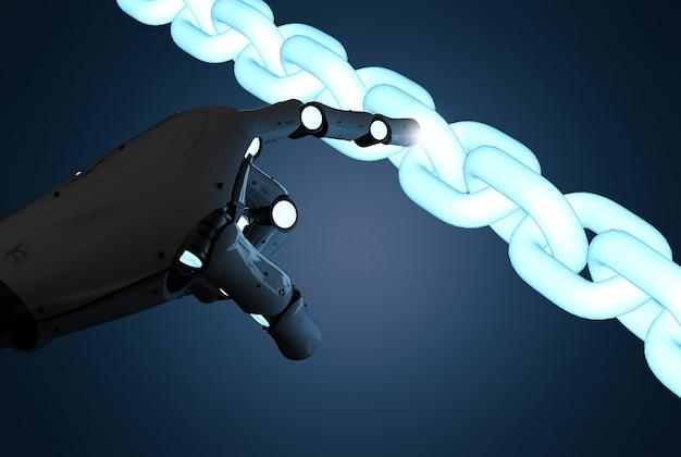 Концепция технологии блокчейн с 3d-рендерингом руки робота с цепью