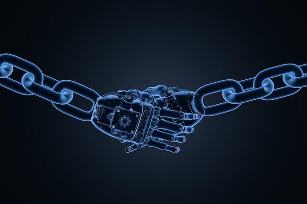 Концепция технологии блокчейн с 3d-рендерингом рентгеновского робота рукопожатие