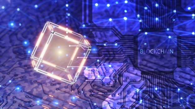 블록체인 용어 개념. 암호화폐 채굴용 칩. 데이터와 기술 추상 큐브입니다. 디지털 배경입니다. 3d 렌더링입니다.