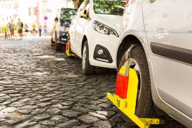 Blocked car wheel for parking violation