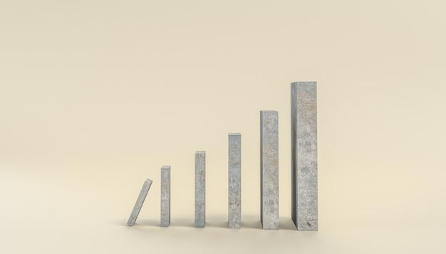 Blocks of different sizes ready to fall. 3d render.